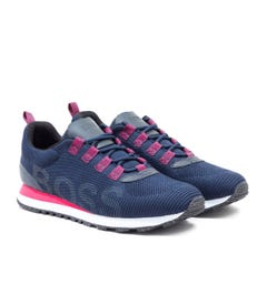 BOSS Parkour Run Navy Knitted Trainers