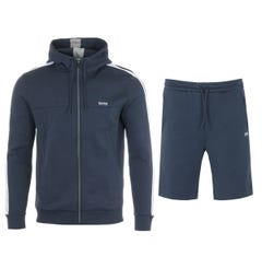 BOSS Hooded Sweatshirt & Shorts Tracksuit - Navy