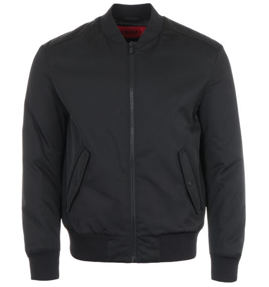 HUGO Red Logo Minimal Bomber Jacket -  Black