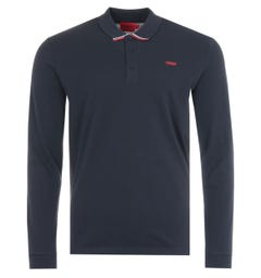 HUGO Donol Sustainable Long Sleeve Polo Shirt - Navy