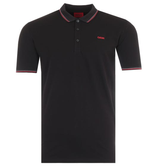 HUGO Dinoso Reverse Logo Tipped Slim Fit Polo Shirt - Black