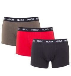 HUGO 3 Pack Sustainable Boxer Trunks - Black, White & Khaki