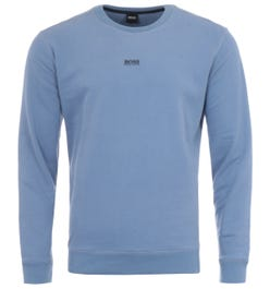 BOSS Central Logo Relaxed Fit Sweatshirt - Light Blue