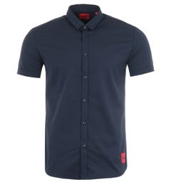 Hugo Empson Extra Slim Fit Short Sleeve Shirt - Navy