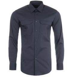 BOSS Jalen Performance Stretch Slim Fit Shirt - Dark Blue