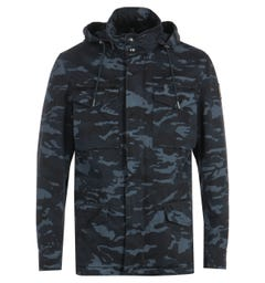 Belstaff Fieldwood Camo Ink Blue Hooded Jacket