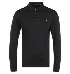 Polo Ralph Lauren Cotton Jersey Black Long Sleeve Polo Shirt