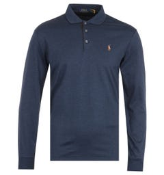 Polo Ralph Lauren Cotton Jersey Navy Long Sleeve Polo Shirt