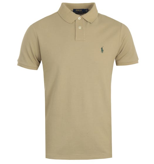 Polo Ralph Lauren Custom Slim Fit Polo Shirt - Khaki