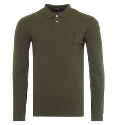 Polo Ralph Lauren Slim Fit Long Sleeve Polo Shirt - Olive