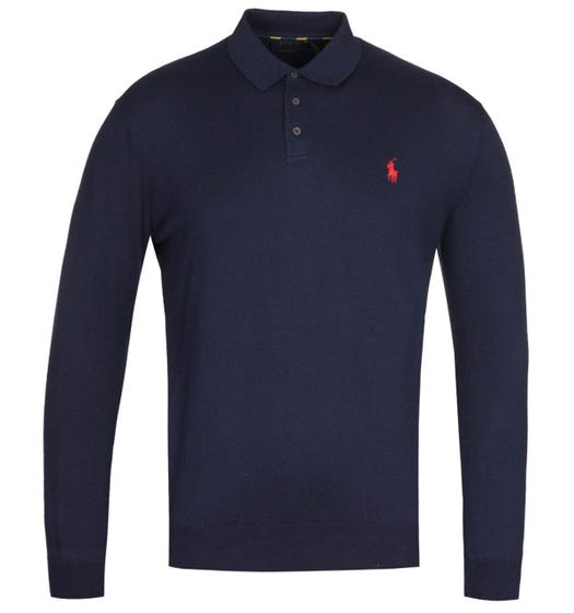 Polo Ralph Lauren Pima Cotton Long Sleeve Navy Blue Polo Shirt