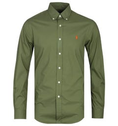 Polo Ralph Lauren Slim Fit Military Green Long Sleeve Poplin Shirt