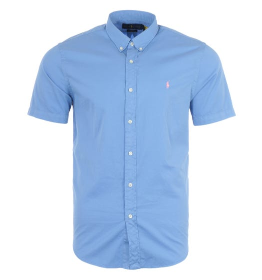 Polo Ralph Lauren Featherweight Twill Slim Fit Short Sleeve Shirt - Blue