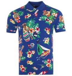 Polo Ralph Lauren Tropical Polo Bear Custom Slim Fit Polo Shirt - Blue