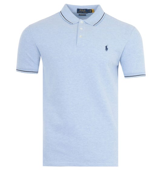 Polo Ralph Lauren Tipped Stretch Mesh Slim Fit Polo Shirt - Heather Blue
