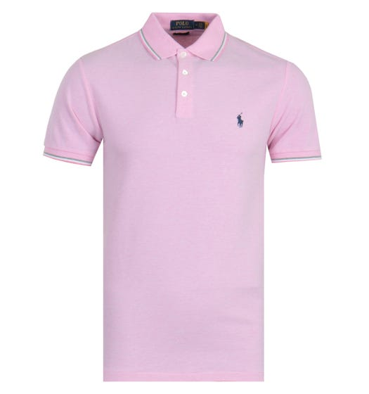 Polo Ralph Lauren Tipped Stretch Mesh Slim Fit Polo Shirt - Pink