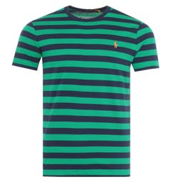Polo Ralph Lauren Block Stripe Custom Slim Fit T-Shirt - Green