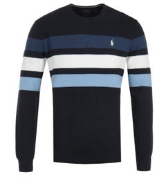 Polo Ralph Lauren Pima Cotton Stripe Blue Sweater