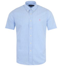 Polo Ralph Lauren Striped Seersucker Short Sleeve Shirt - Blue