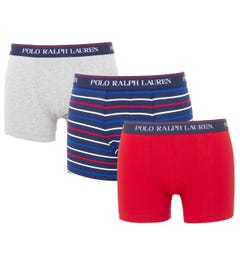 Polo Ralph Lauren 3 Pack Classic Trunk Boxers - Red, Grey & Stripe