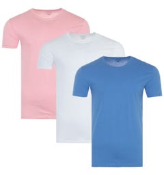 Polo Ralph Lauren 3 Pack Crew Neck T-Shirts - White, Pink & Blue