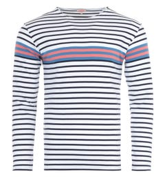 Armor Lux Heritage Contrast Stripe Long Sleeve T-Shirt - White