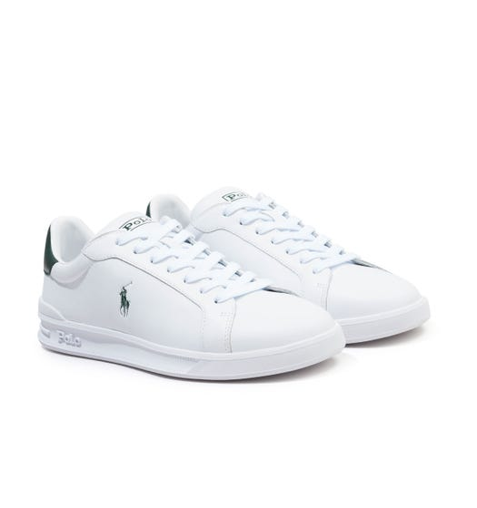 Polo Ralph Lauren Heritage Court II Leather Trainers - White & Green