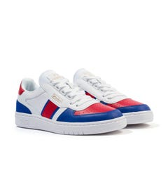Polo Ralph Lauren Court Leather Trainers - White, Red & Heritage Royal