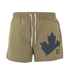Dsquared2 Boxer Midi Maple Leaf Swim Shorts - Olive