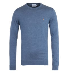 Farah Mullen Deep Blue Crew Neck Sweater