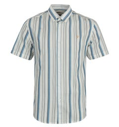 Farah Robertson Stripe Organic Cotton Short Sleeve Shirt - Ecru