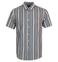 Farah Robertson Stripe Organic Cotton Short Sleeve Shirt - Yale