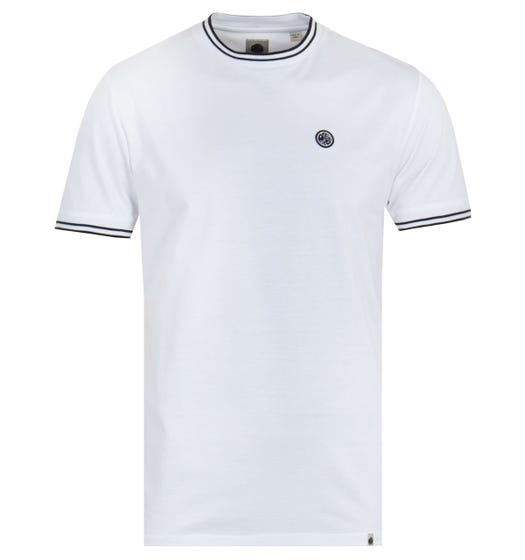 Pretty Green Contrast Twin Tipped White T-Shirt