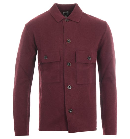 Pretty Green Boiled Wool Overshirt - Burgundy