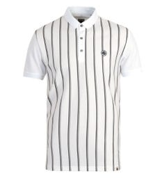 Pretty Green Tierney Stripe Mercerised Cotton White Polo Shirt
