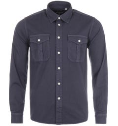 Pretty Green Twillford Long Sleeve Shirt - Dark Navy