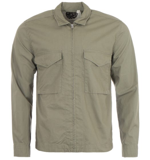 Pretty Green Connor Ripstop Overshirt - Khaki