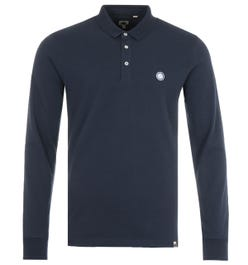 Pretty Green Crinkle Long Sleeve Polo Shirt - Navy