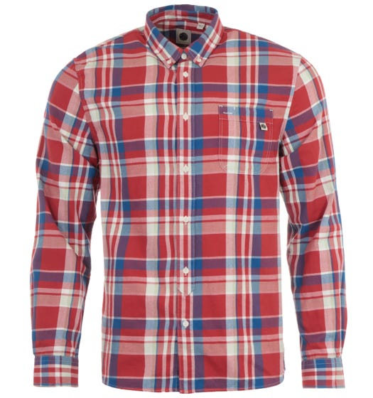 Pretty Green Japanese Cotton Check Shirt - Red
