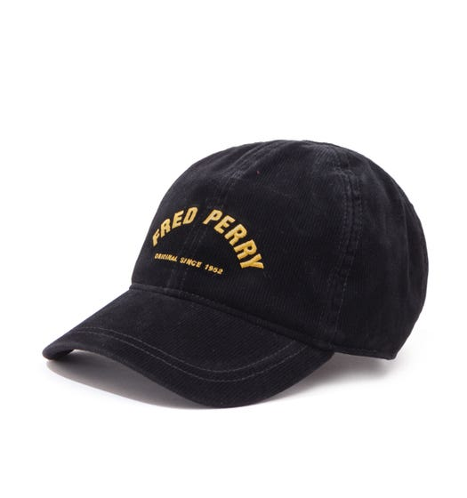 Fred Perry Arch Branded Corduroy Black Cap