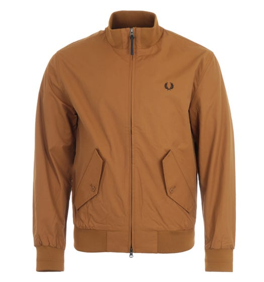 Fred Perry Check Lined Zip Through Jacket - Dark Caramel
