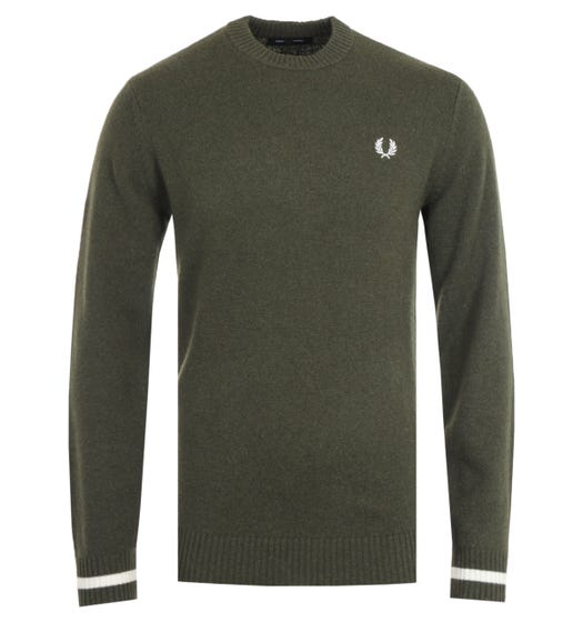 Fred Perry Tipped Crew Neck Hunting Green Sweater