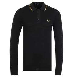 Fred Perry Tipped Long Sleeve Black Knitted Polo Shirt