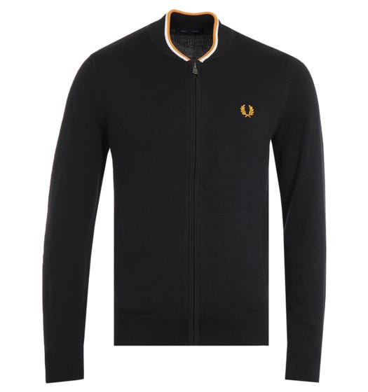Fred Perry Knitted Zip Black Bomber Sweater