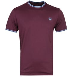 Fred Perry Twin Tipped Mahogany Maroon T-Shirt