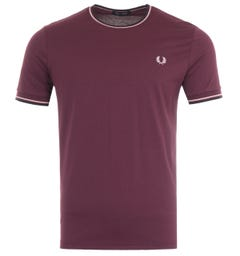 Fred Perry Twin Tipped T-Shirt - Mahogany & Pink