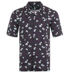 Fred Perry Animal Print Short Sleeve Shirt - Mahogany
