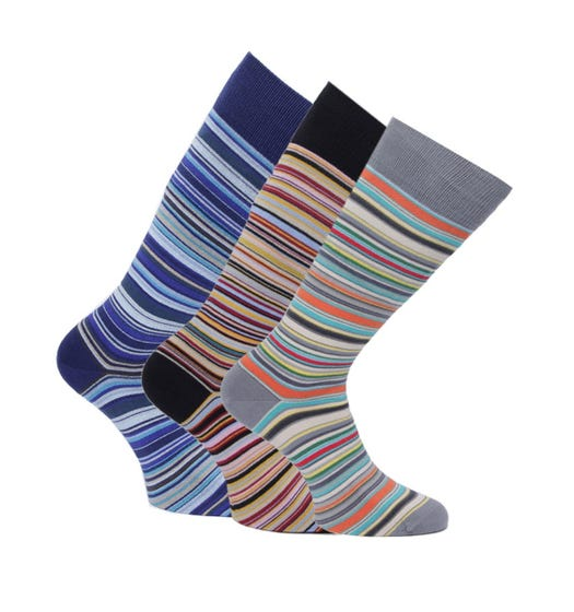 PS Paul Smith 3 Pack Blue, Black & Grey Stripe Socks