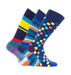 PS Paul Smith 3 Pack Multi Coloured Stripe & Dots Socks