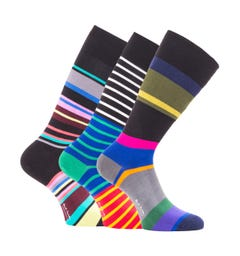 PS Paul Smith 3 Pack Multi Coloured Stripe Socks